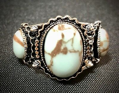 Lovely Faux Turquoise Silver Plated Southwestern Style Ring Size 8