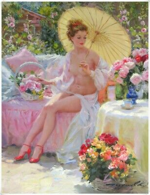 "Konstantin Razumov Woman Handmade Art Oil Painting Wall Decor canvas 24x32"" #16"