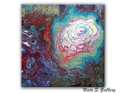 """Colorful Acrylic Pour Painting, 20"""" x 20"""" Abstract Fluid Art, Pour Art Painting"""