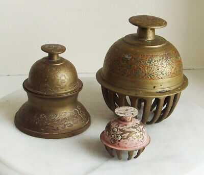 Vintage Brass Elephant Or Claw Temple Bells