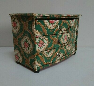 Vintage French Antique green floral fabric Drawers Chest Storage small rare old