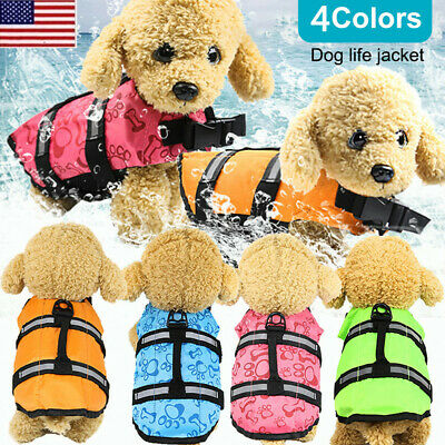 Pet Dog Safety Vests Life Jacket Reflective Stripe Swimming Suit Preserver Puppy