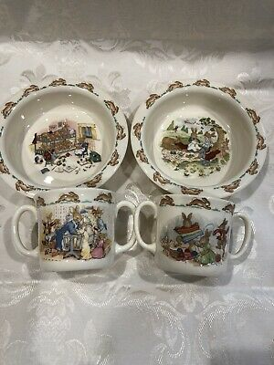 Royal Doulton BUNNYKINS Oatmeal Cereal,Soup Bowl, and Cup Set of 2