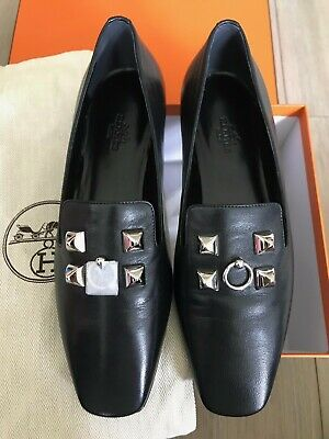 b7ee1646ae3c Authentic New Hermes Black Subtil Ballerina Loafer Flats 37 Shoes Leather 7  CDC