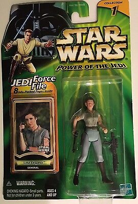Star Wars General Leia Organa - Power of the Jedi Action Figure with Force File