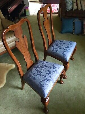 THOMASVILLE VTG Queen Anne Dining Side Chair PAIR (2), Upholstery Cleaned, Nice!