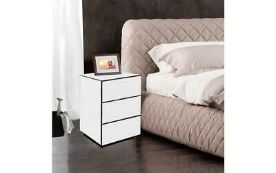 NEW Beautiful Bedroom Furniture Silver Mirrored 3 Drawer Bedside Cabinet Table