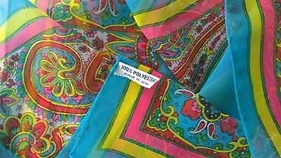 1960s vintage*Made in Japan*Neon psychedelic paisley & block colour SHEER SCARF