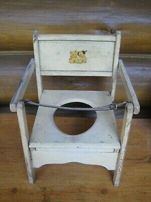 Vintage Primitive YELLOW Wooden 80-Year-Old POTTY CHAIR Puppy Kitten
