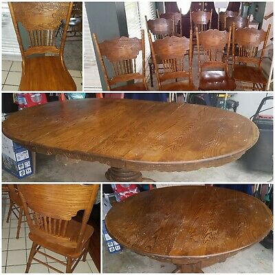 Kitchen / Dining Table Set w/7-9 Chairs Round to Oval w/leaf *Vintage* Solid Oak