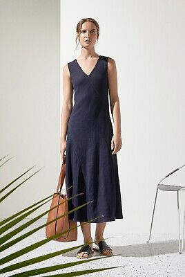 NWT $180 Designer Country Road TRENERY Linen Bias Panel DRESS French Navy Red