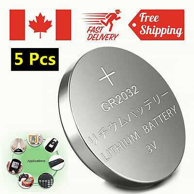 5 Pcs CR2032 Lithium Battery DL2032 2032 3V coin cell button batteries Ca Seller