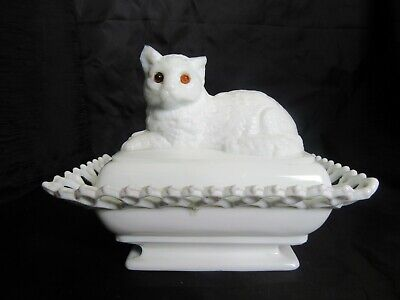 Antique 1889 Atterbury Milk Glass Cat Covered Dish, *Chips to Ears