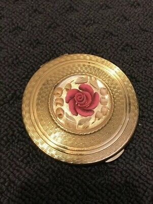 Antique English Compact Pink Rose Vintage Collectable