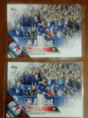 (2) 2016 Topps #96 Jose Bautista Toronto Blue Jays Bat Flip - lot of 2