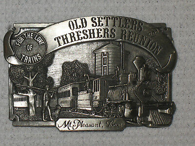 Old Settlers And Threshers Reunion Mt- Pleasant-IA-Belt-Buckle-1983