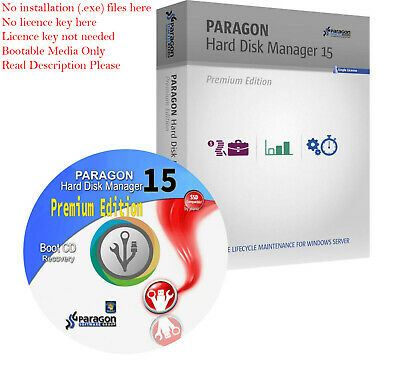 Paragon Hard Disk Manager 15 Premium Bootable CD Migrate Copy Backup OS Restore