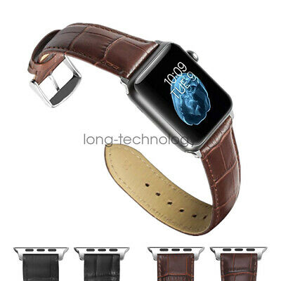 Crocodile Leather Wristwatch Strap for Apple Watch Band iWatch 44mm 38mm 42mm