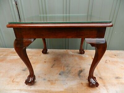 vintage side table(small)ball&claw feet- glass top