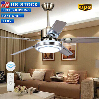 """52"""" Remote Control Ceiling Fan Lamp Light Stainless Steel Chandelier Home Decor^"""
