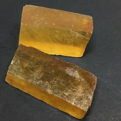 Natural Calcite Crystal Yellow Iceland spar Optical Mineral Specimens stone