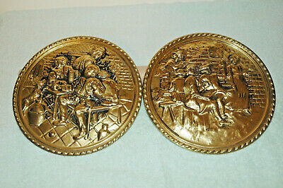 Pair of Vintage Copper Wall Hanging Plates-Made in England - Pub Grouping - 8 in