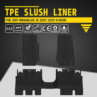 KIWI MASTER Front Rear Floor Liners TPE Slush Mats for Jeep Wrangler 4D JK 07-13