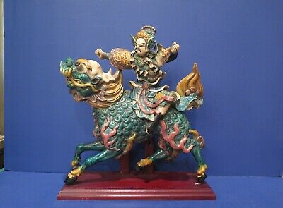 Vintage Chinese Roof Tile Warrior on Dragon Horse Double Signed