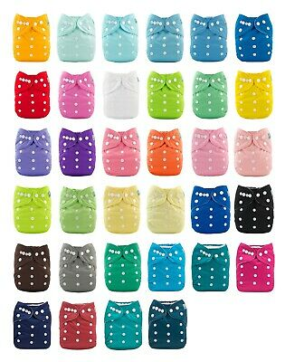 ALVA Baby Cloth Nappies Plain Color Adjustable Reusable Nappies With Inserts