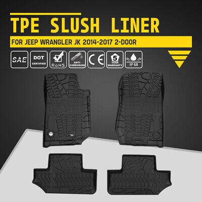 KIWI MASTER TPE Floor Liners Slush Front Rear Mats for Jeep Wrangler 2D JK 14-17
