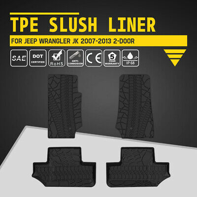 KIWI MASTER TPE Floor Liners Slush Front Rear Mats for Jeep Wrangler 2D JK 07-13