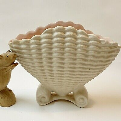 1950s Raynham Footed Scallop Shell Vase - Textured Surface,  Pink Interior