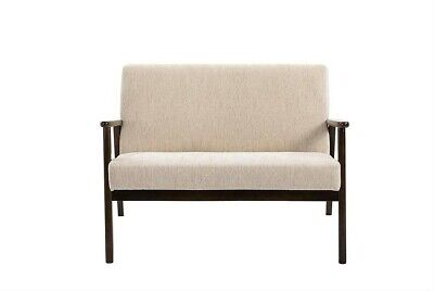 Retro Beige Loveseat Small Danish 2-Seater Sofa Fabric Mid Century Modern Settee