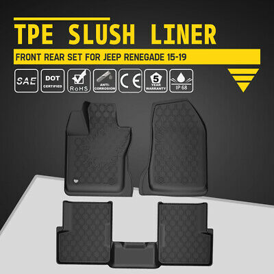 KIWI MASTER All Weather Floor Liners TPE Slush Mats Set for Jeep Renegade 15-19