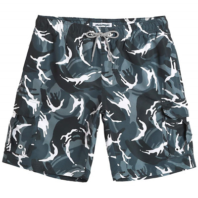 298553e9ee2a6 MaaMgic Mens Quick Dry Camo Cargo Short Relaxed Fit Swim Trunks with Mesh  Lining