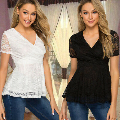 Womens Ladies Lace Casual V-neck Wrap-around Rumpled Lace Short-sleeved Top LH