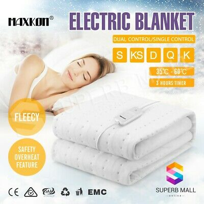 5 Size Electric Blanket Washable Heated Warm Fully Fitted Double Layer Polyester