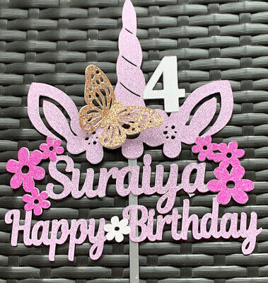 Personalised Glitter Unicorn Cake Topper Fourth Birthday Age 4 Name Double Sided