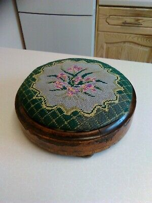 Mid Victorian Round Foot Stool with Needlework Top (1971)