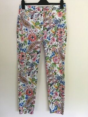 Ladies White Blue Pink Yellow Floral Summer Trousers Size Small S By Zara