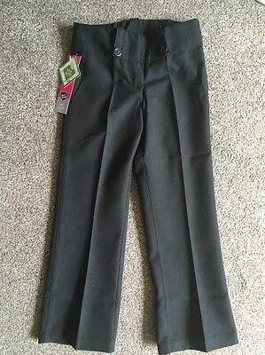 Bnwt Girls Back To School Black Water Repellent Trousers Age 9-10 Years New