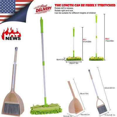 Children Dolls Kid/'s Housekeeping Cleaning Tools Set-3pcs Small Mop Small Broom