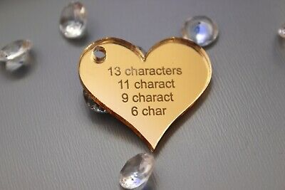 Personalised 4x4cm Heart Acrylic Gold Mirror Table Decorations - Wedding Favours