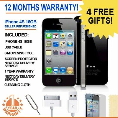 Apple iPhone 4S 8GB 16G Factory Unlocked SIM Free Mobile 12 Months Warranty