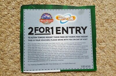 2 for 1 Entry Voucher adult or child at Alton Towers or Thorpe Park Resort