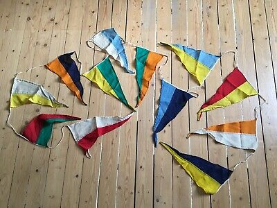 Vintage Bunting Or Ships Pennant Flags - String Of 12 Stitched Material Antique