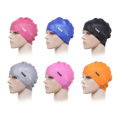 83808e8b880d2 Silicone Swimming Cap Swim Pool Hats Long Hair Ear Protect For Adult  Waterproof