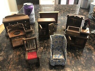 Lot Of Vintage Wood Dollhouse Furniture Fireplace Chairs Hutch Dresser 8 Pieces