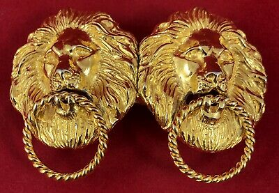 Douglas Paquette Belt Buckle Lion Door Knocker Gold Metal Vintage