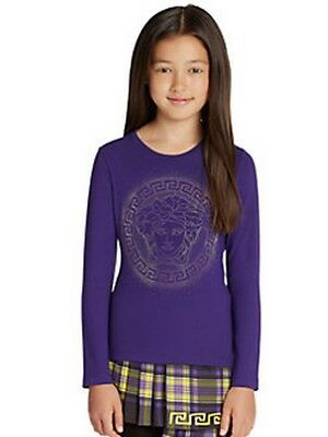 Young Versace Girls Purple Studded Medusa Top BNWT